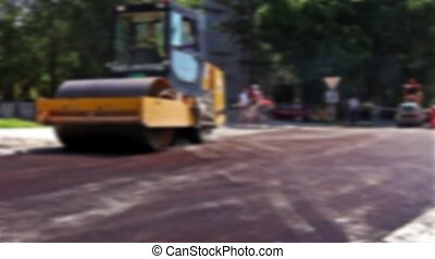 Road Construction in blurred view