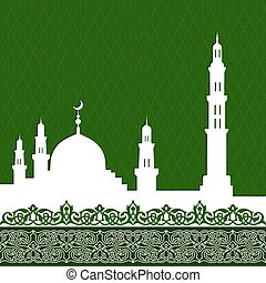 mosque with minaret - ramadan kareem greetings background....