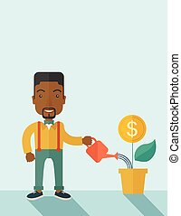 Business person watering a growing plant.