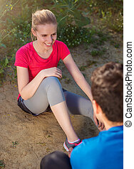 Young runners outside - Young runners training outside in...
