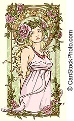 Art Nouveau background with beautiful woman in floral border