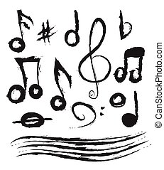 Set of music notes, doodle vector - Set of music notes,...