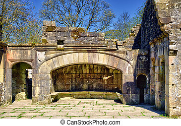 The fireplace of ruined Wycoller Hall - The fireplace of...