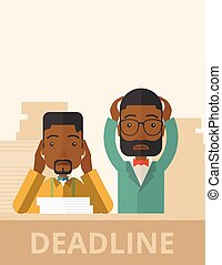Two stressed african-american employees - A two...