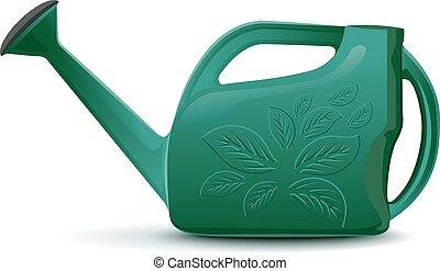 緑, プラスチック, 庭, 水まき, 缶,