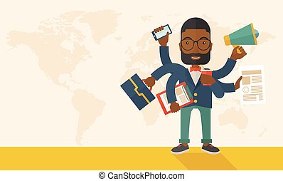 Young but happy african employee doing multitasking office...