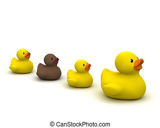 digital render of 4 rubber ducks with an ugly duckling...