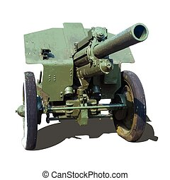 Old artillery gun howitzer vector illustration isolated on...