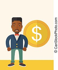 Happy businessman standing with a big dollar coin beside...