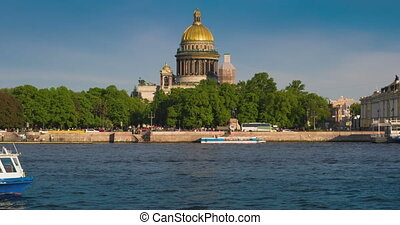 View Saint Isaacs Cathedral in Saint Petersburg from Neva...