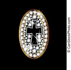 jewel cross - black background and jewelry locket with cross
