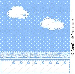 abstract sewn clouds - background fantasy blue with clouds,...