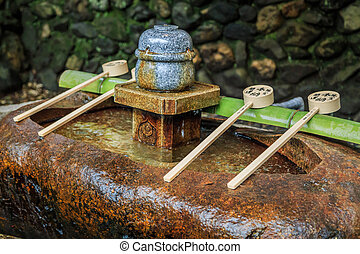 Natural Drinking Water in temple of Japan.