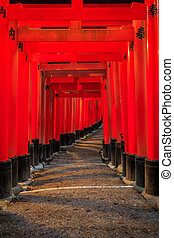 Pathway - The red pathway to temple in Japan