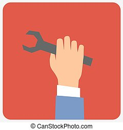 Wrench in hand. Vector illustration.