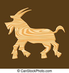 Wooden goats, symbol of the Chinese Year Vector Illustration...