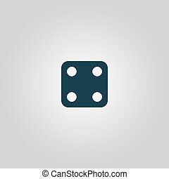 Vector illustration of one dices - side with 4 - One dices -...