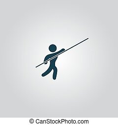Pole vault athlete Flat web icon or sign isolated on grey...