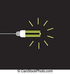 eco bulb vector on black background