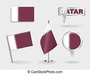 Set of Qatari pin, icon and map pointer flags Vector...