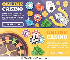 Online casino flat illustration concepts set Flat design...
