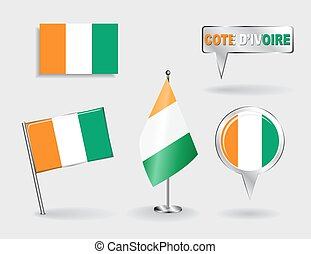 Set of Cote d'Ivoire pin, icon and map pointer flags. Vector...