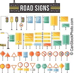 Flat road signs set. Traffic signs graphic elements isolated...