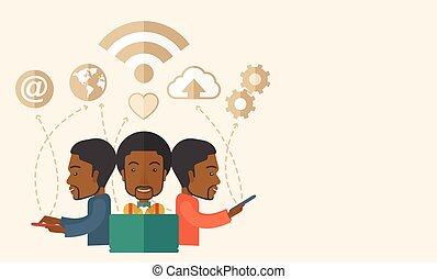Black Men using modern technology - A black businessmen...