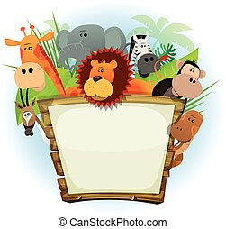 Wild Animals Zoo Wood Sign - Illustration of a cute cartoon...