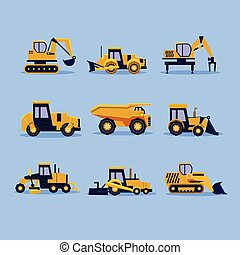 Yellow Tractors Vector Illustration - Set icons yellow...