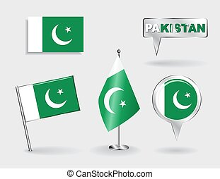 Set of Pakistani pin, icon and map pointer flags Vector...