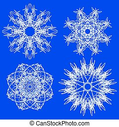 Snow Flakes - Abstract Snow Flakes Set Isolated on Blue...