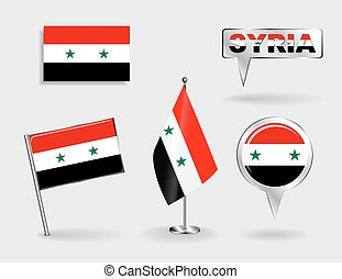 Set of Syrian pin, icon and map pointer flags. Vector...