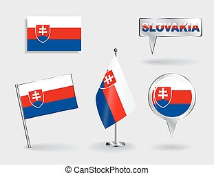 Set of Slovak pin, icon and map pointer flags Vector - Set...