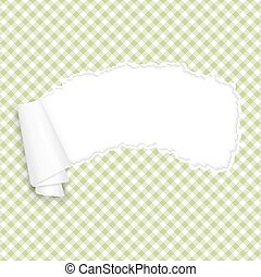 ripped open paper checkered green - vector of ripped open...