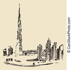 Dubai City Skyline Hand Drawn, Engraved Vector