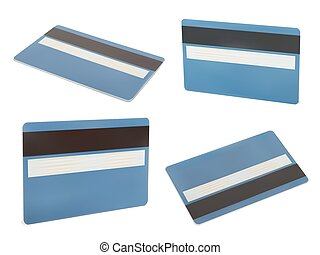 Blue creadit card - Set of Blue creadit card Isolated on...