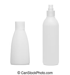 Set of cosmetic bottles.