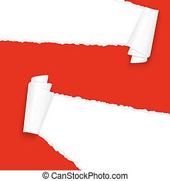 ripped open paper red - vector of ripped open paper colored...