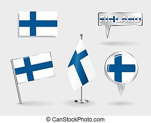 Set of Finnish pin, icon and map pointer flags Vector...