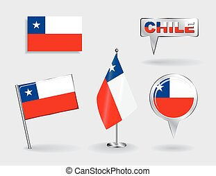 Set of Chilean pin, icon and map pointer flags. Vector...
