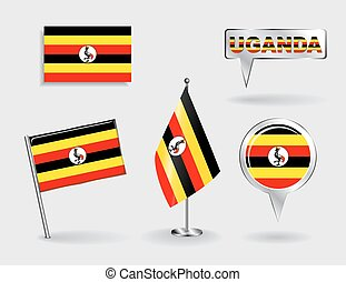 Set of Ugandan pin, icon and map pointer flags. Vector - Set...