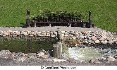 bench river cascade