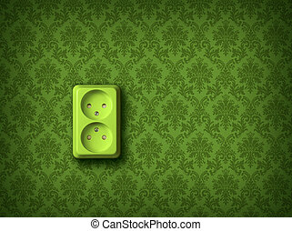 Green energy concept wall socket - Green socket on green...