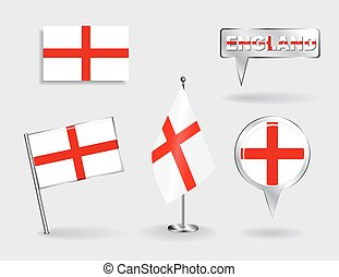 Set of English pin, icon and map pointer flags Vector...