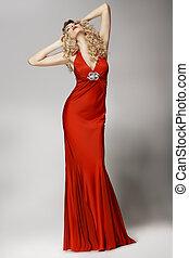 誘人, 形狀美觀, 婦女, 在, 紅色, 衣服,...