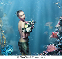 Inspiration Fantastic Woman with Flowers in Water