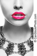 Emphasis. Black & White Woman's Face with Pink Lips