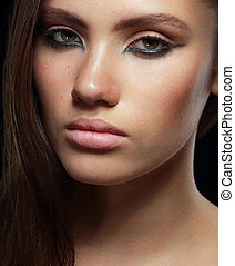 Studio Portrait of Young Brunette with Healthy Skin