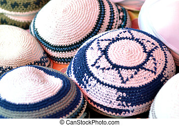 Jewish Kippah with Star of David symbol on display in the...